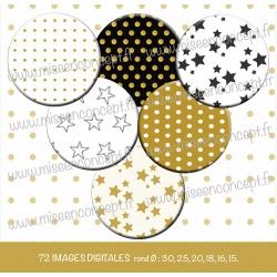 Images : Motifs Petits pois & étoiles - Planches : Rondes & Ovales, Rondes et Ovales