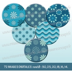 Images : Motifs tons bleus fleurs - Planches : Rondes & Ovales, Rondes et Ovales