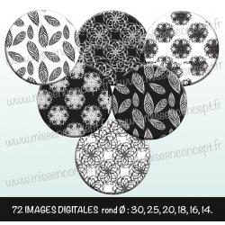 Images : Motifs noirs et blancs feuilles, fleurs - Planches : Rondes & Ovales, Rondes et Ovales