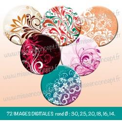 Images : Motifs fleurs, vintage - Planches : Rondes & Ovales, Rondes et Ovales