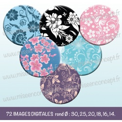 Images : Motifs fleurs - Planches : Rondes & Ovales, Rondes et Ovales