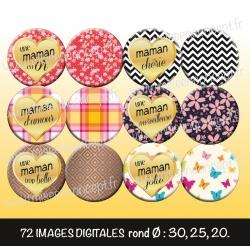 Images : Maman + motifs - fête des mères - Planches : Rondes & Ovales, Rondes et Ovales
