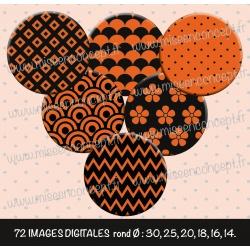 Images : Motifs en formes noir & orange - Planches : Rondes & Ovales, Rondes et Ovales