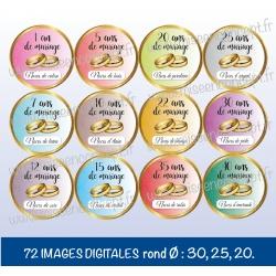 Images : Mariage : années de mariage - Planches : Rondes & Ovales, Rondes et Ovales