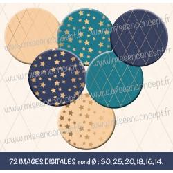 Images : motifs étoiles et rayures - Planches : Rondes & Ovales, Rondes et Ovales