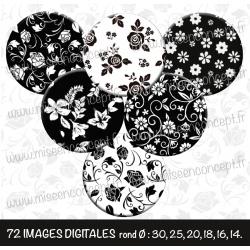 Images : motifs fleurs noires & blancs - Planches : Rondes & Ovales, Rondes et Ovales