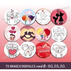 Images : St Valentin personnage amoureux - Planches : Rondes & Ovales, Rondes et Ovales