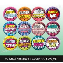 Images : Super Héros Métiers écoles enfants - Planches : Rondes & Ovales, Rondes et Ovales