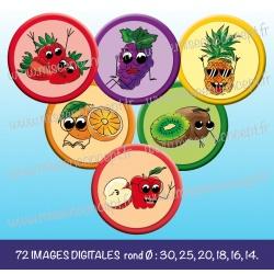 Images : fruits en folies, fraises, oranges, raisins, kiwis, pommes, ananas - Planches : Rondes & Ovales, Rondes et Ovales