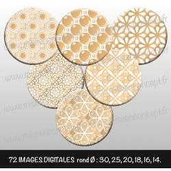 Images : Motifs dorés et blancs - Planches : Rondes & Ovales, Rondes et Ovales