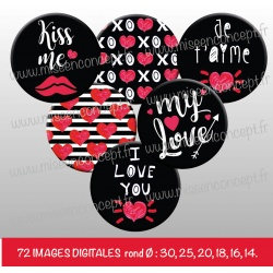 Images : Saint Valentin, love - Planches : Rondes & Ovales, Rondes et Ovales