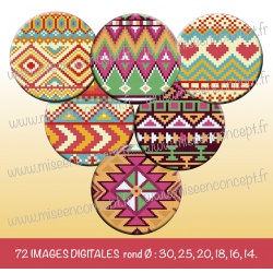Images : Motifs Aztèques - Planches : Rondes & Ovales, Rondes et Ovales