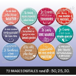 Images : St Valentin : Phrases d'amour - Planches : Rondes & Ovales, Rondes et Ovales