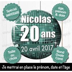 Image personnalisée : anniversaire - Choix du format - Rond, carré ou ovale