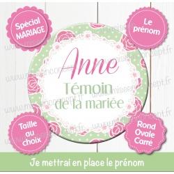 Image personnalisée : mariage : témoin de la mariée - Choix du format - Rond, carré ou ovale