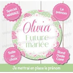 Image personnalisée : mariage : future mariée - Choix du format - Rond, carré ou ovale