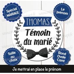 Image personnalisée : témoin du marié - Choix du format - Rond, carré ou ovale
