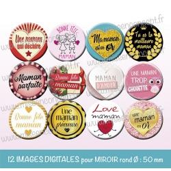 Images miroir de poche : Maman, fête des mères - Planche ronde, taille 56, 57, 58 mm et 50 mm