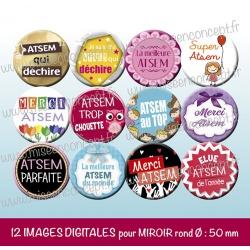 Images miroir de poche : atsem - Planche ronde, taille 56, 57, 58 mm et 50 mm