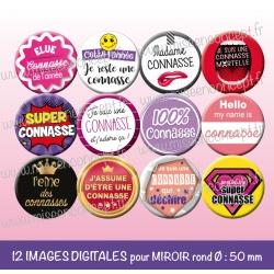 Images miroir de poche : connasse - Planche ronde, taille 56, 57, 58 mm et 50 mm