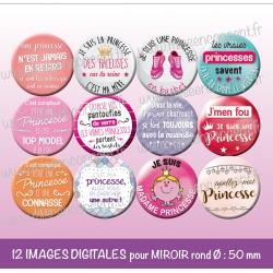 Images miroir de poche : les vraies princesses - Planche ronde, taille 56, 57, 58 mm et 50 mm
