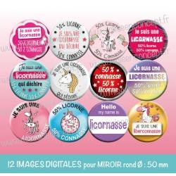Images miroir de poche : Licornasse - Planche ronde, taille 56, 57, 58 mm et 50 mm