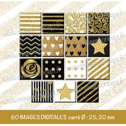 Images carrés : noirs & blancs & dorés - Planche carré, taille 20, 25 mm et 35, 40 mm