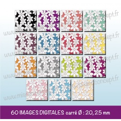 Images carrés : fleurs en relief - Planche carré, taille 20, 25 mm et 35, 40 mm