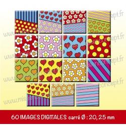 Images carrés : motifs colorés - Planche carré, taille 20, 25 mm et 35, 40 mm
