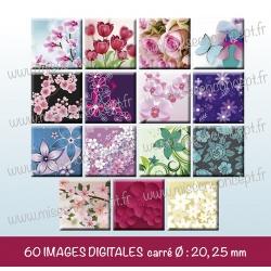 Images carrés : fleurs - Planche carré, taille 20, 25 mm et 35, 40 mm