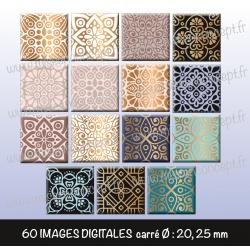 Images carrés : Motifs arabesques - Planche carré, taille 20, 25 mm et 35, 40 mm
