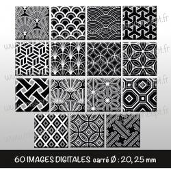 Images carrés : motifs noirs et blancs - Planche carré, taille 20, 25 mm et 35, 40 mm