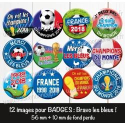 Images badges : Bravo les bleus - Planche : 56 mm + 10 mm fond perdu