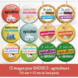Images badges : agricultrice, agriculteur  - Planche : 56 mm + 10 mm fond perdu