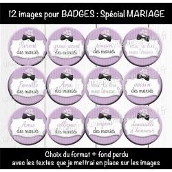 Images badges : mariage - Choix du format et du texte