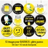 Images badges : gilets jaunes - Planche ronde : 56 mm + 10 mm fond perdu
