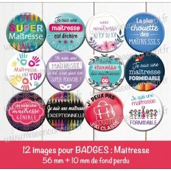 Images badges : maîtresse - Planche ronde : 56 mm + 10 mm fond perdu
