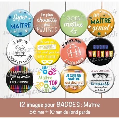 Images badges : maître - Planche ronde : 56 mm + 10 mm fond perdu