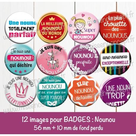 Images badges : nounou - Planche ronde : 56 mm + 10 mm fond perdu