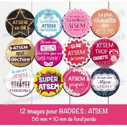 Images badges : atsem - Planche ronde : 56 mm + 10 mm fond perdu