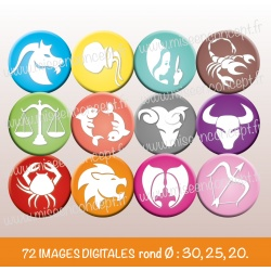 Images : Signes astrologiques - Planches : Rondes & Ovales, Rondes et Ovales