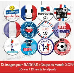 Images badges : coupe du monde 2019, football - Planche ronde : 56 mm + 10 mm fond perdu