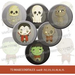 Images : Halloween  : Fais moi peur - Planches : Rondes & Ovales, Rondes et Ovales