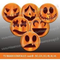 Images : Halloween  : tête de citrouille : Rondes & Ovales, Rondes et Ovales