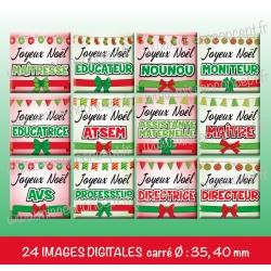 Images carrés : noël métiers - Planche carré : 35, 40 mm