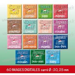 Images carrés : joyeux noël la famille - Planche carré, taille 20, 25 mm et 35, 40 mm