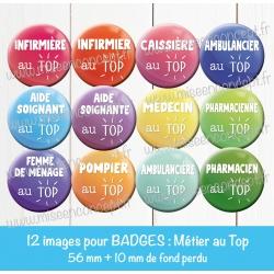 Images badges : Métiers médicals - Planche : 56 mm + 10 mm fond perdu