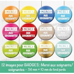 Images badges : Merci aux aides soignants / soignantes - Planche ronde : 56 mm + 10 mm fond perdu